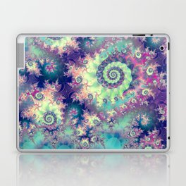 Violet Teal Sea Shells, Abstract Underwater Forest  Laptop & iPad Skin