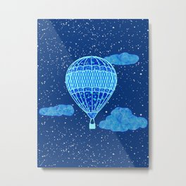 Hot Air Balloon Against a Deep Blue Night Sky Metal Print