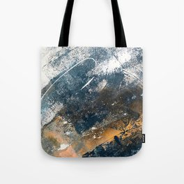 Wander [4]: a vibrant, colorful, abstract in blues, white, and gold Tote Bag