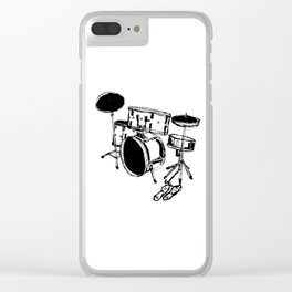 Drum Kit Rock Black White Clear iPhone Case