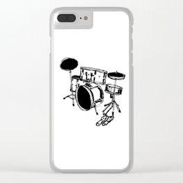 Drum Kit Rock Black White Clear iPhone Case