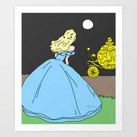cinderella Art Prints featuring Cinderella by RaJess