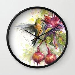Hummingbird and Fuchsia Watercolor Wall Clock