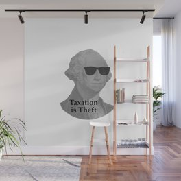 George Washington Cool Sunglasses with Taxation is Theft Wall Mural