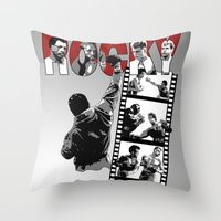 saga Throw Pillows featuring Rocky Saga by The Black Lodge
