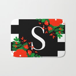S - Monogram Black and White with Red Flowers Bath Mat