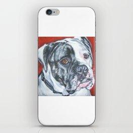 American Bulldog dog portrait Fine Art Dog Painting by L.A.Shepard iPhone Skin