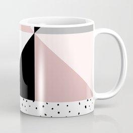 Geometrical pink black gray watercolor polka dots color block Coffee Mug