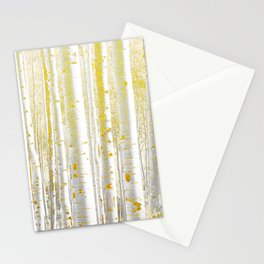 Gold Birch Forest Stationery Cards