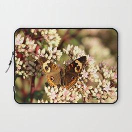 Buckeye Butterfly On Pale Pink Flowers Laptop Sleeve