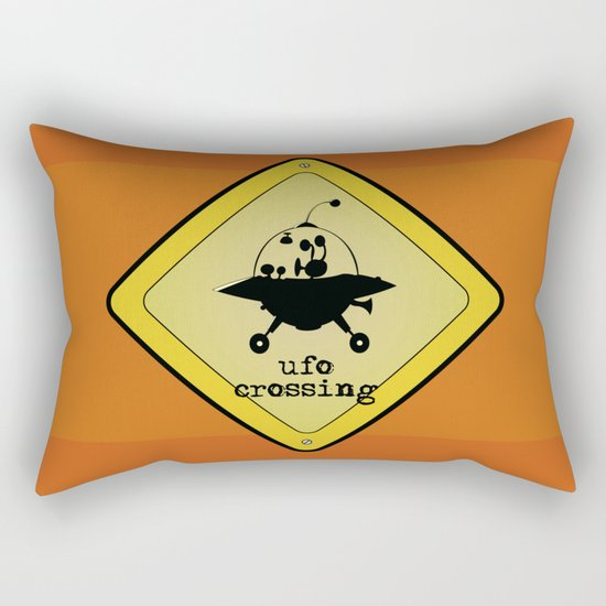 UFO crossing sign Rectangular Pillow