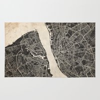 liverpool Area & Throw Rugs featuring liverpool map ink lines by NJ-Illustrations