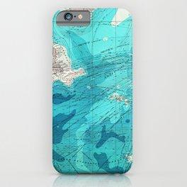 Vintage Blue Transatlantic Mapping iPhone Case
