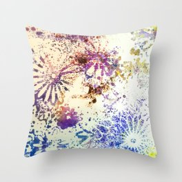 Stenciled Flowers Throw Pillow