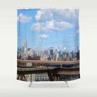 manhattan Shower Curtains featuring Manhattan by Sadie Mae