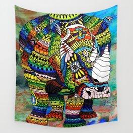 Rainbow Rhino Negative Background Wall Tapestry