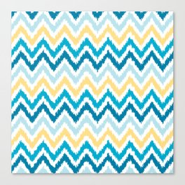 Blue Yellow Zigzag Pattern Canvas Print