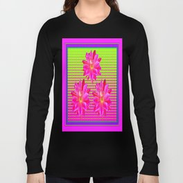 Optical Art Fuchsia, Chartreuse Pink Cactus Flowers Pattern Long Sleeve T-shirt