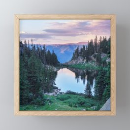 Hikers Bliss Perfect Scenic Nature View \ Mountain Lake Sunset Beautiful Backpacking Landscape Photo Framed Mini Art Print