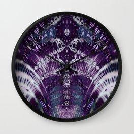 Purple Fractal Tie Dye Tie Dye Wall Clock