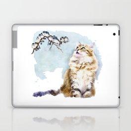 Cute Cat on the Lurk Watercolor Painting Laptop & iPad Skin