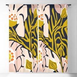 Backyard flower – modern floral illustration Blackout Curtain