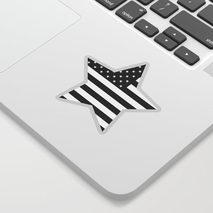 American Flag Stars and Stripes Black White Sticker