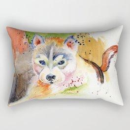 Little Wolf Watercolor Rectangular Pillow