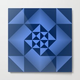 Abstract Triangles - Sapphire Metal Print