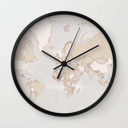 """Rustic world map in grey and brown """"Lucille"""" Wall Clock"""