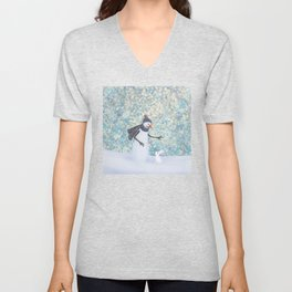 snowman and white rabbit Unisex V-Neck
