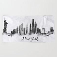 White New York Skyline Beach Towel