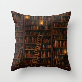 Night library Throw Pillow