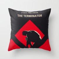No802-1 My The Terminator 1 minimal movie poster Throw Pillow