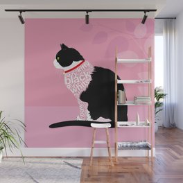 Typographic black and white lazy kitty cat on pink  #typography #catlover Wall Mural