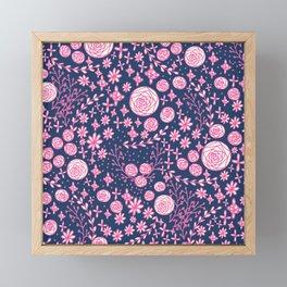 Abstract pink garden pattern in blue marine background Framed Mini Art Print