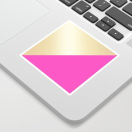 Modern hot pink & gold color block Sticker