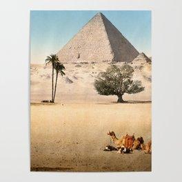 Vintage Pyramid : Grand Pyramid Gizeh Egypt 1895 Poster