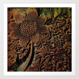Antique Arts & Crafts era Wood Carving, wood block  Art Print