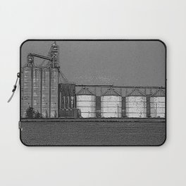 Black & White Grain Silos Pencil Drawing Photo Laptop Sleeve