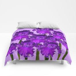 Contemporary Purple Iris Garden Art Comforters