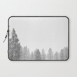 Winterland // Snowy Landscape Photography White Out Winter Pine Tree Artwork Laptop Sleeve