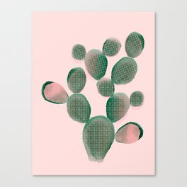 Watercolored Cactus on Pink Canvas Print