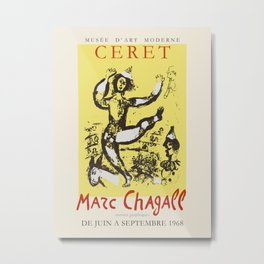 Marc Chagall. Exhibition poster for Musée d'Art Moderne in Ceret, 1968. Metal Print