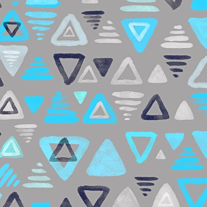 Summer Turquoise Triangles on Grey Leggings