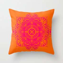 Bright Orange and Pink Geometric Mandala Throw Pillow