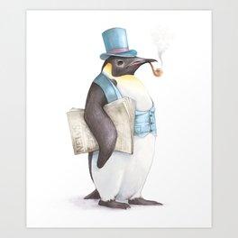 cool funny cranky gentleman penguin Art Print