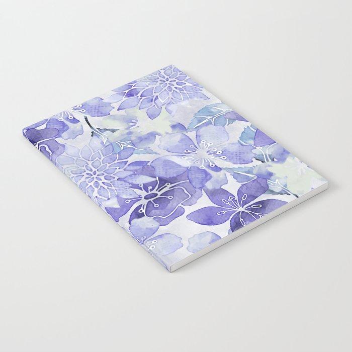 Purple Flower watercolor allover pattern Notebook
