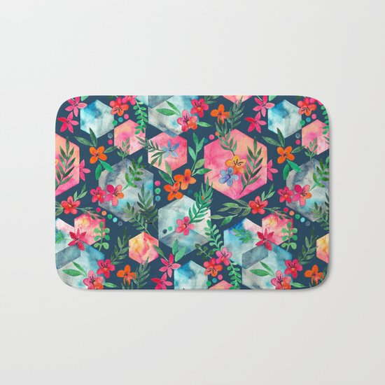 Whimsical Hexagon Garden on Blue Bath Mat