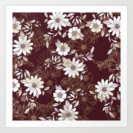 Elegant burgundy white faux gold modern flowers Art Print